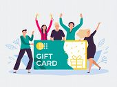 Gift Card Voucher. Gift Certificate, Discount Cards For Customers And Happy People Hold Gift Coupon. poster