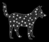 Glossy Mesh Dog With Glitter Effect. Abstract Illuminated Model Of Dog Icon. Shiny Wire Carcass Tria poster