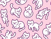 Cute Cartoon Cats Seamless Texture. Hand Drawn Kawaii White Kitties In Different Poses On Pink Backg poster
