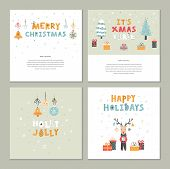 Christmas Set Of Vector Flat Hand Drawn Template With Cute Deer, Gift, Christmas Trees, Lettering, T poster