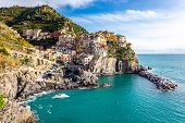 Manarola, One Of Famous Small Coastal Cliff Towns And Fishing Villages In Cinque Terre National Park poster