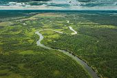 Aerial View Green Forest Woods And River Landscape In Summer Evening. Top View Of Beautiful European poster