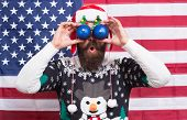 Im Watching You. Bearded Man Look Through Funny Eye Glasses. Funny Sight. Funny Santa On Stars And S poster