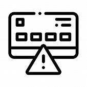 Credit Card Hacking Icon Vector. Outline Credit Card Hacking Sign. Isolated Contour Symbol Illustrat poster