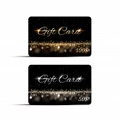 Luxury Gift Cards Vector Templates Set. Silver And Golden Sparkling Vouchers Elegant Designs. 50, 10 poster