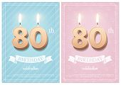 Burning Number 80 Birthday Candles With Vintage Ribbon And Birthday Celebration Text On Textured Blu poster