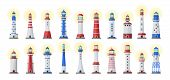 Sea Lighthouse Vector Cartoon Set Icon.vector Illustration Ocean Beacon On White Background .isolate poster