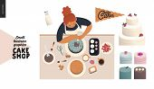 Cake Shop, Cakes On Demand - Small Business Graphics - Process -modern Flat Vector Concept Illustrat poster