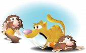 image of saber-toothed  - a caveman lying on the ground with a growling saber - JPG