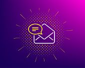 New Mail Line Icon. Halftone Pattern. Message Correspondence Sign. E-mail Symbol. Gradient Backgroun poster
