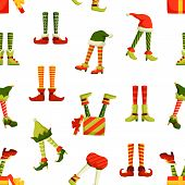 Christmas Elf Legs Flat Vector Seamless Pattern. Funny New Year, Winter Holiday Themed Texture. Colo poster