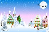 Houses, Village, Church, Forest, Trees. Winter Rural Landscape. Christmas Eve Night. Snowflakes In T poster