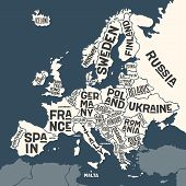 Europe, Map. Poster Map Of The Europe With Country Names poster