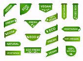 Vegan Mark Labels. Organic Food Labels. Fresh Eco Vegetarian Products, Vegan Label And Healthy Foods poster