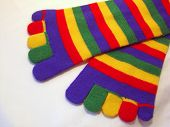 stock photo of knee-high socks  - a pair of colorful toe socks - JPG