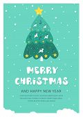 Christmas And New Year Snow Postcard. Holiday Postcard Template. Flat Holiday Postcard With Christma poster