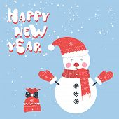 Christmas And New Year Snow Postcard. Holiday Postcard Template. Snowman Postcard poster