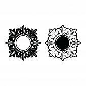 Black Vintage Ornaments, Carved Border Ornaments, Flower Ornaments, Retro Pattern Ornaments, Square  poster