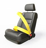 foto of seatbelt  - car chair isolated on a white background - JPG