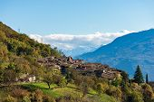 Medieval Village Of Canale Di Tenno Or Villa Canale In Italian Alps Near The Lake Tenno And Lake Gar poster