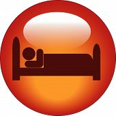 picture of goodnight  - red icon of person lying down in bed - JPG