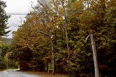Beautiful Countryside Road In The Historic New England Town Of Dorset On A Cold, Fall Day. poster