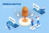 Isometric Speech Battle And Digital Sound Wave Concept. Musical Melody Design. Soundwave Audio Music poster