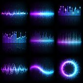 Sound Wave, Music Audio Equalizer With Frequency Pattern, Vector Different Shapes. Abstract Music So poster