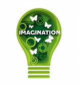 Imagination Vector Concept Illustration In Paper Art Style poster
