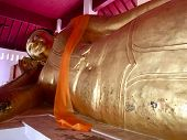 Ancient Biggest Reclining Buddha (posture Sleep) Lanna Style At Northern Thailand Temple poster