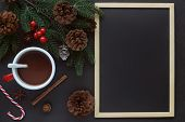 Christmas Black Granite Table Decorate With Blackboard Or Chalkboard. Christmas Wallpaper With Pine  poster