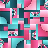 Creative Pattern With Eyes In Geometric Shapes Grid 80s And 90s Vintage Fashion Fabric Print. Patche poster