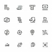 Finance Management Line Icon Set. Money, Cash, Currency Exchange, Cashback. Finance Concept. Can Be  poster