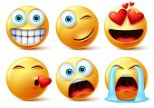 Emojis And Emoticons Face Vector Set. Emoticon Of Cute Yellow Faces In Kissing, In Love, Crying, Sur poster