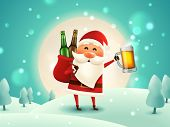 Christmas Beer Poster. Drunk Santa Holding Beer Mug In The Moonlight. The Sack With Craft Beer Bottl poster