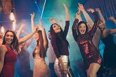 Low Angle Photo Of Crazy People Students Bachelorettes Corporate Company Dance In Nightclub Feel Rej poster