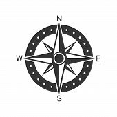 Vector Compass Icon. Compass Navigation Icon. Black Compass Icon In Flat Style. Compass Rose, Wind R poster