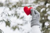 Christmas Red Heart Winter Handle Heart Background poster