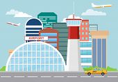 Airport Building And Planes. Airport Terminal Building With Aircraft Taking Off. Airport Building An poster