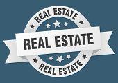 Real Estate Ribbon. Real Estate Round White Sign. Real Estate poster