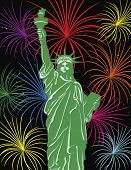 Statue Of Liberty With Fireworks Illustration