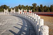 Chinese Ancient Temple Of Heaven. Asian Architectural Background.  Old Stone Fence With Ancient Chin poster