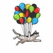Cat Animal Flies On Air Balloons Sketch Engraving Vector Illustration. T-shirt Apparel Print Design. poster