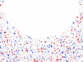 American Patriot Day Stars Background. Confetti In Us Flag Colors For Independence Day. Simple Red B poster