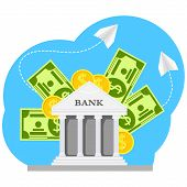 Vector Flat Illustration, Bank Building. Set Of Business Web Banner For Online Banking And Banking C poster