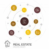 Real Estate Colored Circle Concept With Simple Icons. Contains Such Elements As Property, Realtor, L poster