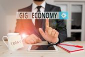 Text Sign Showing Gig Economy. Conceptual Photo Free Market System In Which Temporary Positions Are  poster