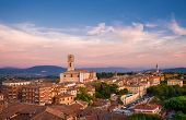 Panoramic View Perugia Huge And Iconic St Dominic Basilica And Umbria Countryside With Sunset Colors poster