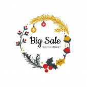 Stylish Hand-drawn Winter Sell-out Banner. Vector Illustration On Christmas Theme With Branches, Bal poster