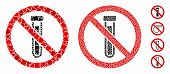 No Test Tube Mosaic Of Bumpy Items In Variable Sizes And Shades, Based On No Test Tube Icon. Vector  poster